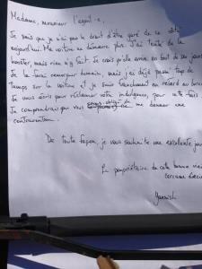 La lettre à l'agent